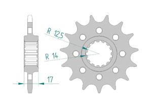 Kit chaine ACIER DUC 1199 PANI R 13-15 PCD4 #520
