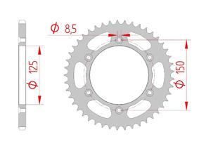 Kit chaine ACIER KTM XC-F 450 2013-2015