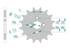 Kit chaine Acier HONDA MT 50 Standard