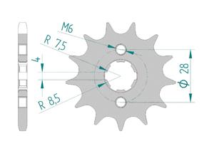 Kit chaine Acier HONDA CRF 125 2015