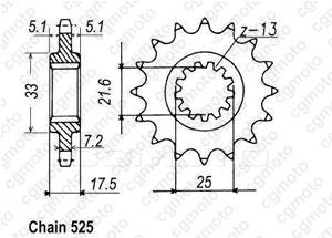 Pignon Cb500 R/Y 94-00