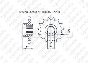 Pignon Quad 125 Aeon 00-04