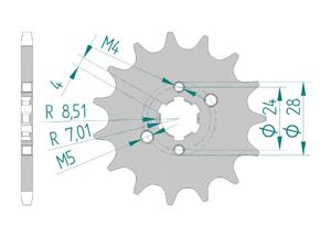 Kit chaine Acier DERBI GPR 50 NUDE 2006-2008