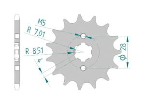 Kit chaine Acier DERBI 50 GPR RACING 2004-2005 Standard