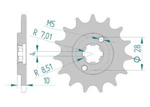 Kit chaine Acier DERBI SENDA 50 R / L 97-99