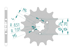 Kit chaine Acier DERBI DRD 50 RACING SM 2012-2013 Standard