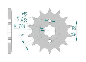 Kit chaine Acier DERBI SENDA 125 DRD SM 2009-2012 Standard