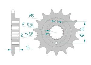 Kit chaine Acier DUCATI 600 MONSTER 95-97