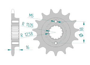 Kit chaine Acier DUCATI 620 MONSTER 6 VIT 04-05