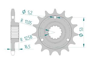 Kit chaine Acier DUC 1000 MONSTER S2R 06-08 FOR PCD2