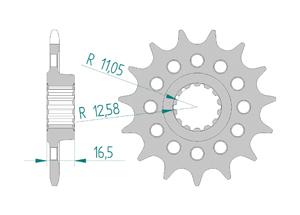 Kit chaine Acier DUC 1198 S/R 09-11 FOR PCD3 #520