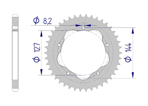 Kit chaine ALU DUC 796 H-MOTARD EVO 10-12 for PCD2 Hyper Renforcé Xs-ring