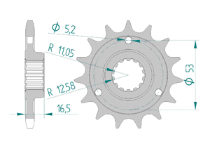 Kit chaine ALU DUCATI 1100 HYP MOTARD #525 for PCD2