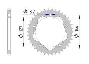 Kit chaine ALU DUCATI 1100 HYP MOTARD #520 for PCD2