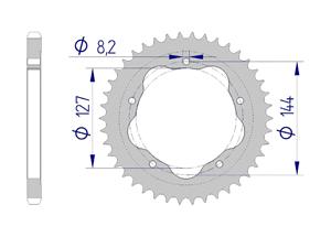 Kit chaine ALU DUC 1100 H-MOTARD EVO 10-12 for PCD2