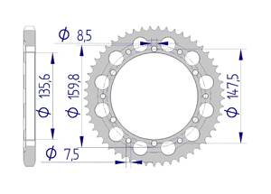 Kit chaine ALU FANTIC 200 TRIAL TX350