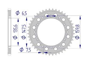 Kit chaine ALU FANTIC 245/247 KRO 89-90 Standard