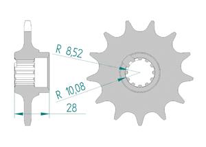 Kit chaine Acier GILERA 125 FREE STYLE Standard