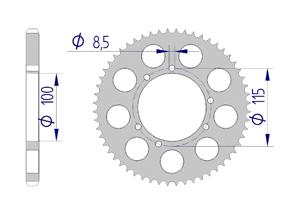 Kit chaine ALU HUSQVARNA CH 125 WXE 2005 Renforcé Xs-ring