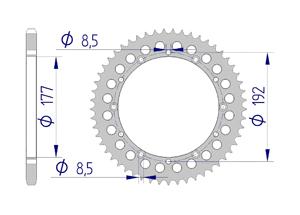 Kit chaine ALU HUSQVARNA WRB 125 1985 Standard Xs-ring
