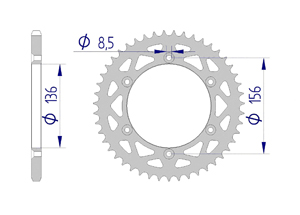 Kit chaine ALU HVA 250 TC 2009-2013 Standard Xs-ring