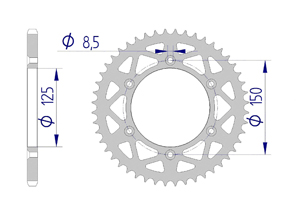 Kit chaine ALU HUSQVARNA FC 250 2014-2016 Standard Xs-ring
