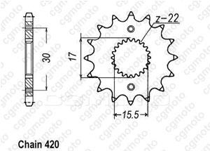 Kit chaine Honda Xr/Cr-f 70 R