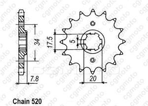 Kit chaine Honda Nsr 125 R/F