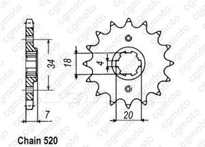 Kit chaine Honda Nsr 125 Tc 01